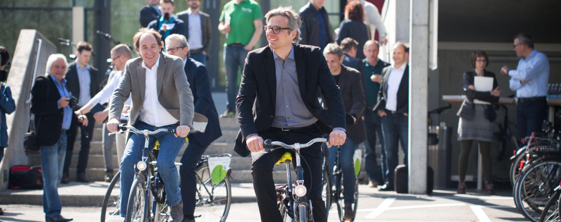 Wirtschaft MOBIL Betriebe setzen aufs Rad statt aufs Auto. Gerald Fitz, Johannes Collini, Johannes Rauch und Martin Reis.
