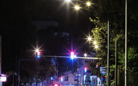 E5, Energieinstitut Vorarlberg, LED, Nachtaufnahme, Strassenbeleuchtung, Dornbirn