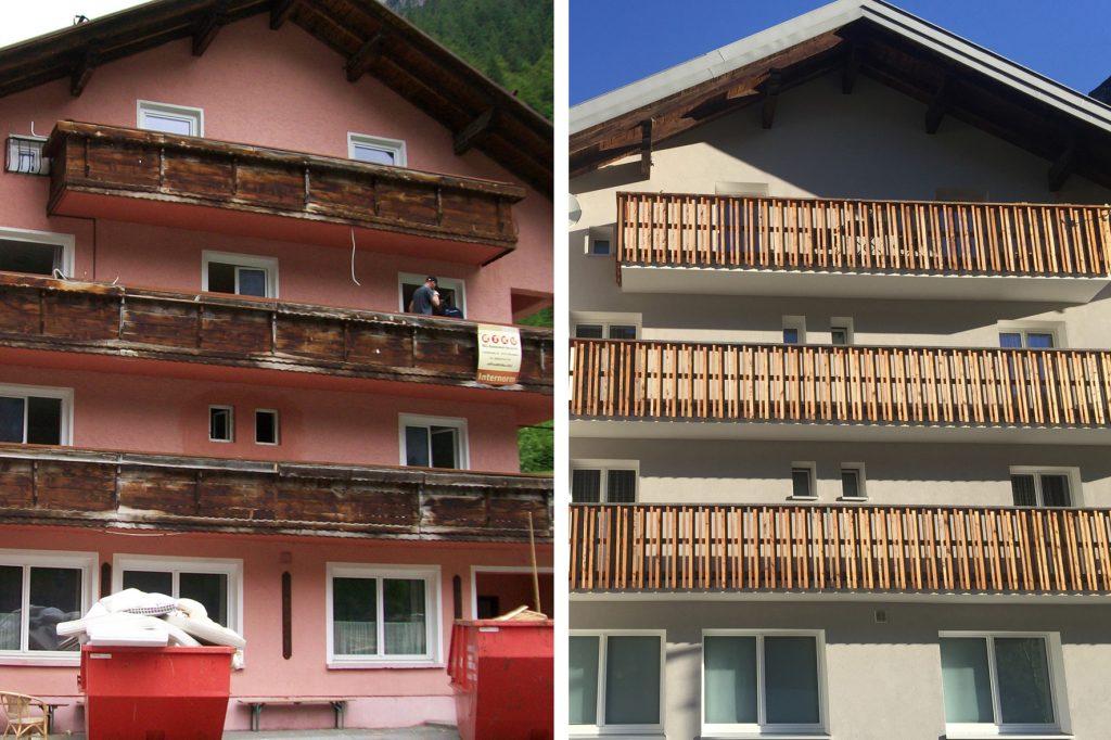 Das Personalhaus Blisadona, saniert mit Unterstützung der Energieberatung für Unternehmen. Bild: Ski-Zürs AG