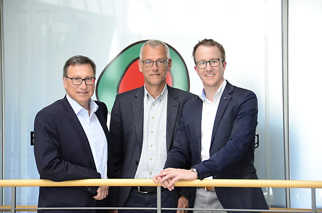 Die neue Führungsetage im Energieinstitut Vorarlberg: Obmannstellvertreter Helmut Mennel, Geschäftsführer Josef Burtscher und Obmann Landesrat Christian Gantner.