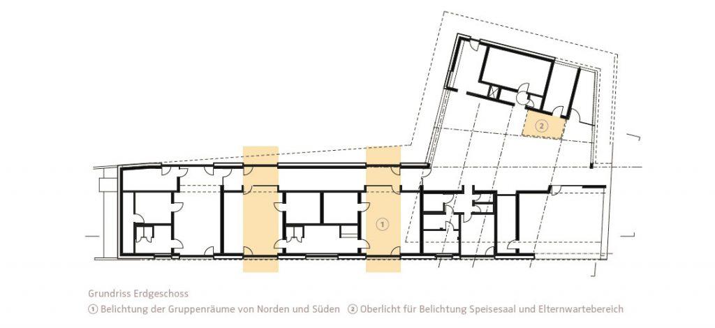 Grundriss Erdgeschoß KITA Oberlinhaus, Grafik Architekt Dipl.-Ing. Herrmann Hagspiel