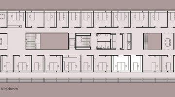 Installationsfreie Zwischenwände sorgen dafür, dass der Grundriss im Bedarfsfall künftig einfach angepasst werden kann. Grafik: Dietrich|Untertrifaller Architekten