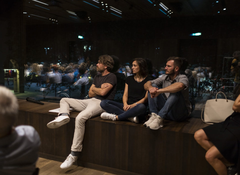 Alexander Abbrederis, Kriemhild Büchel-Kapeller, Katharina Lins, Harald Welzer bei der Energie Lounge 2018. Bildnachweis Darko Todorovic.