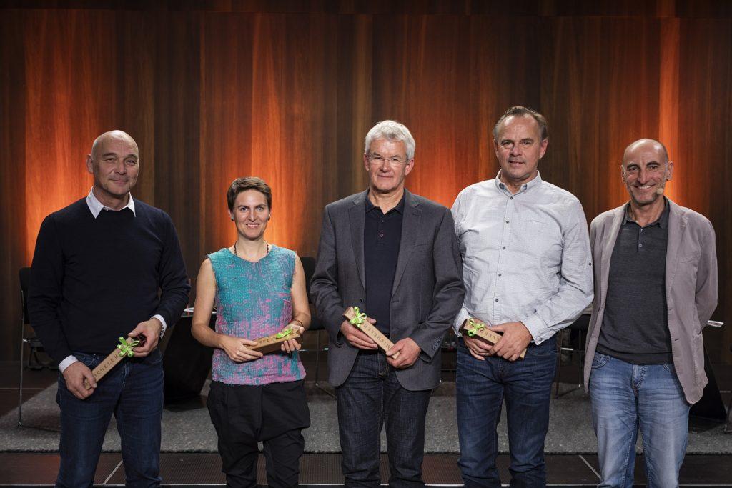 Hugo Dworzak, Anna Heringer, Arnold Hirschbühl. Günter Morscher und Harald Gmeiner bei der Energie Lounge 2018 | Bildnachweis Darko Todorovic