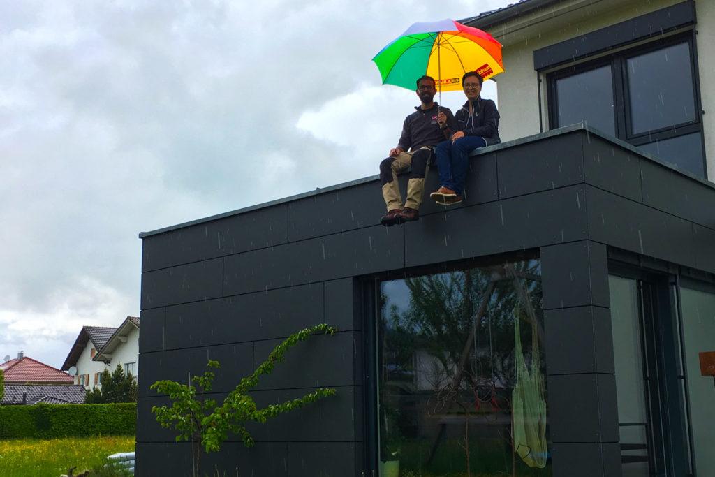 Partnerbetrieb Stefan Hämmerle (Dachi) lässt seine Kunden nicht im Regen stehen.