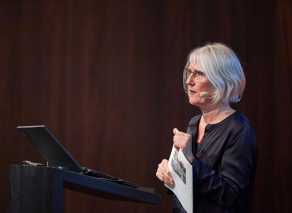 Marina Hämmerle vom Büro für baukulturelle Angelegenheiten zu Gast bei der Energie Lounge 2019 im Vorarlberg Museum. Bild: Darko Todorovic.