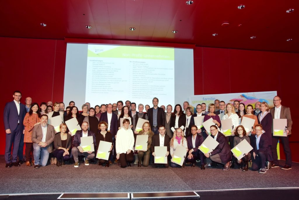 Das Energieinstitut Vorarlberg inmitten der 2020 ausgezeichneten Familienfreundlichen Betriebe Vorarlbergs. Bild: Werner Micheli