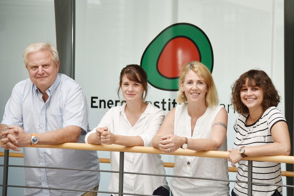Das Ökoprofit-Team im Energieinstitut Vorarlberg: Eckart Drössler, Clara Zudrell, Leiterin Waltraud Travaglini-Konzett und Verena Engstler.